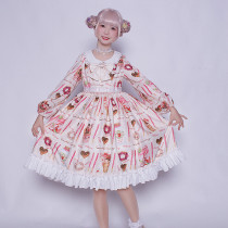 pocky~Print Sweet Lolita OP Dress with Long Sleeve