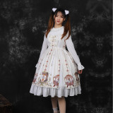 Three Musketeers ~Print Lolita OP Dress With Long Sleeve