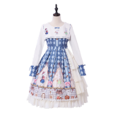Cookie rabbit~Print Lolita OP Dress with Long Sleeve