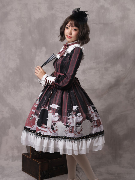 Snow country girl~Print Lolita OP Dress with Long Sleeve Version Ⅰ