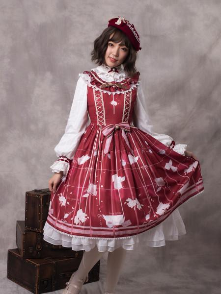 Autumn's Notepaper~Print Lolita Jsk Dress