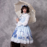 Snow country girl~Print Lolita Jsk Dress +Hime Sleeve