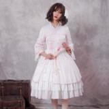 Zi Jin ~Vintage Print Lolita OP Dress with Long Sleeve/Qi Lolita