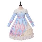 Unicorn star ~Print Lolita OP Dress with Long Sleeve