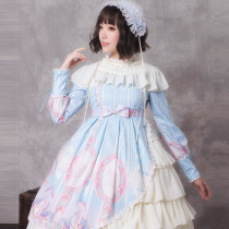 Unicorn star ~Print Lolita OP Dress with Long Sleeve