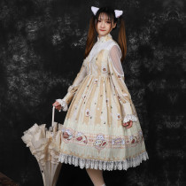 Soft pancake~Print Lolita OP Dress with Long Sleeve