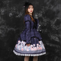 Candlelight whisper ~Print Lolita OP Dress with Long Sleeve