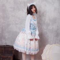 Magic tea party~Print Lolita OP Dress with Long Sleeve