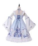 Snow country girl~Print Lolita Jsk Dress +Hime Sleeve