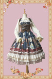 A chronograph tea party~Print 5 Color Lolita Jumper Skirt