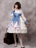 Cookie rabbit~Print Lolita OP Dress with Long Sleeve