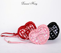 Lovely and melting printing checked heart shape bag