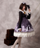 Snow country girl~Print Lolita OP Dress with Long Sleeve Version Ⅱ