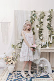 Alice girl~Picture frame cat with bead chain high waist Lolita Jumper dress