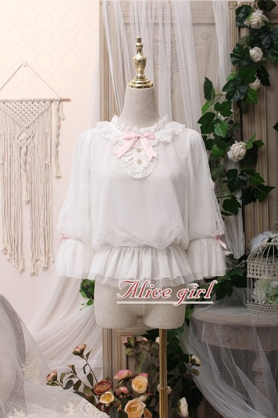 Alice girl~Lolita lace bow round collar blouse