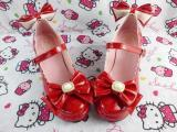 Custom Sweet Lolita shoes with Pearl bow Bride shoes