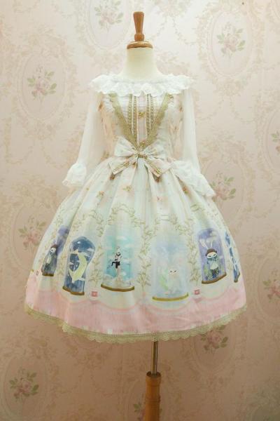 Crystal rabbit~Sweet Printing Lolita Jumper Skirt