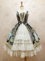 Crystal rabbit~Elegant Printing Lolita Jumper Skirt