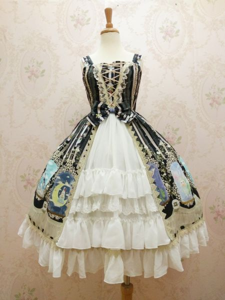 Crystal rabbit~Elegant Printing Lolita Jumper Skirt