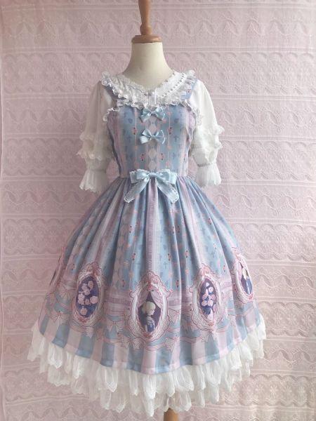 Rose lover's dream~Elegant Printing Lolita Jumper Skirt