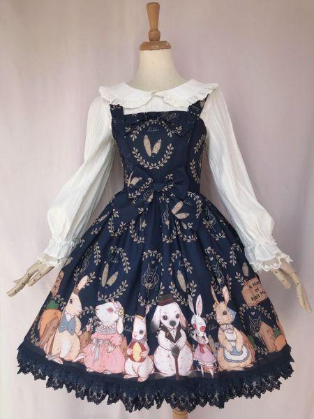 The harvest of the rabbit farm~Sweet Printing Lolita Jumper Skirt