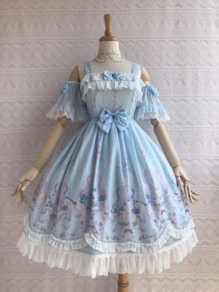 The secret garden of the unicorn~Elegant Printing Lolita Jumper Skirt