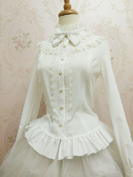 Sweet Lolita Blouse with Stand Collar and Lantern Sleeve