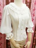 Double delicate organ plait round collar Lolita blouse