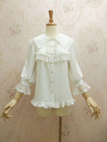 Gorgeous chiffon lace and long sleeve lolita blouse