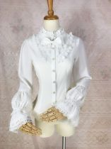Sweet Lolita blouse with Stand collar lantern sleeve