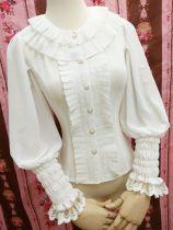 Double delicate organ plait round collar Lolita blouse