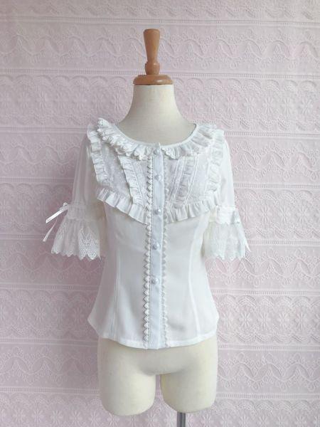 Sweet chiffon lace and short sleeve lolita blouse