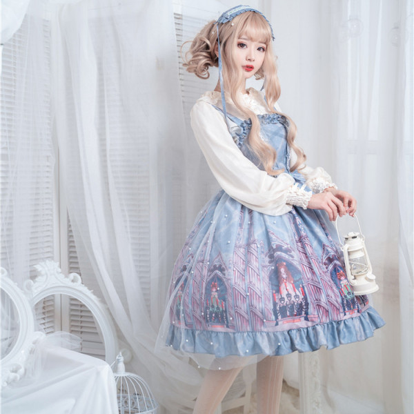 Imprisoned~Net yarn Elegant High waist Lolita slip dress/Jumper skirt
