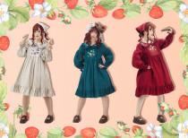 Strawberry flowers~Classical Long Sleeves Lolita OP Dress