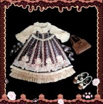 The nurse bears~Printing High Waist Doll Lolita Jumper Skirt