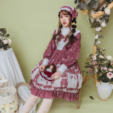 The test of pea kyi~Printing Sweet Lolita Long Sleeves OP Dress