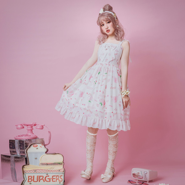 Peach blossom~Printing Sweet Lolita Jumper Skirt