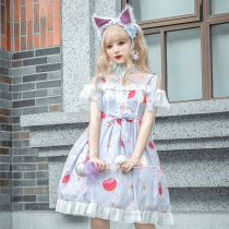 Knife and apple~Printing Sweet Lolita Jumper skirt