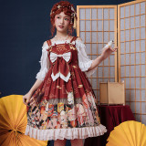 Printing High Waist Lolita Jumper Skirt