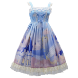 Floating whale castle~Printing Sweet Lolita Jumper skirt