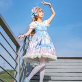 Floating whale castle~Printing Sweet Lolita Jumper skirt