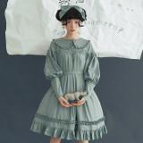 **Chiffon *Peter Pan Collar Long Sleeve Doll OP Dress