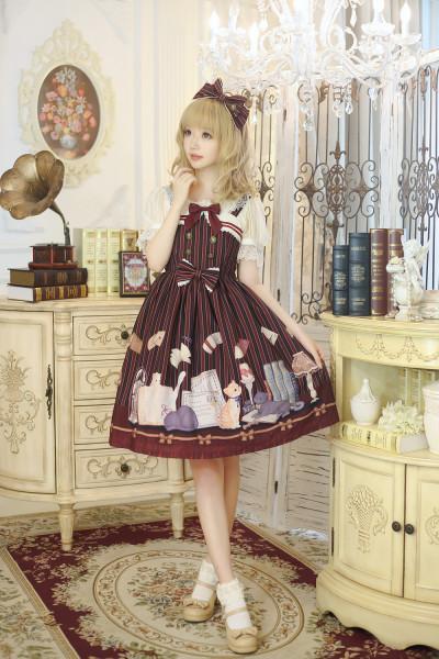 Cat library series~Printing Sweety Lolita Jsk Dress