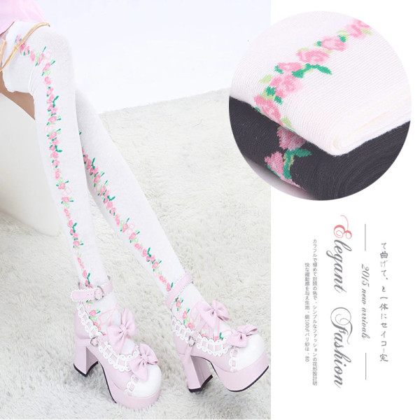 A/W Cartoon Japanese Style Flowers Lolita Stocking