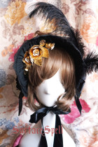 Surface Spell~ Gothic Lolita Pure Color Dark Grain Half Bonnet