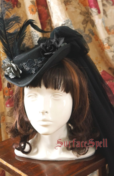 lady in black~Gotic Lolita Vintage Hat