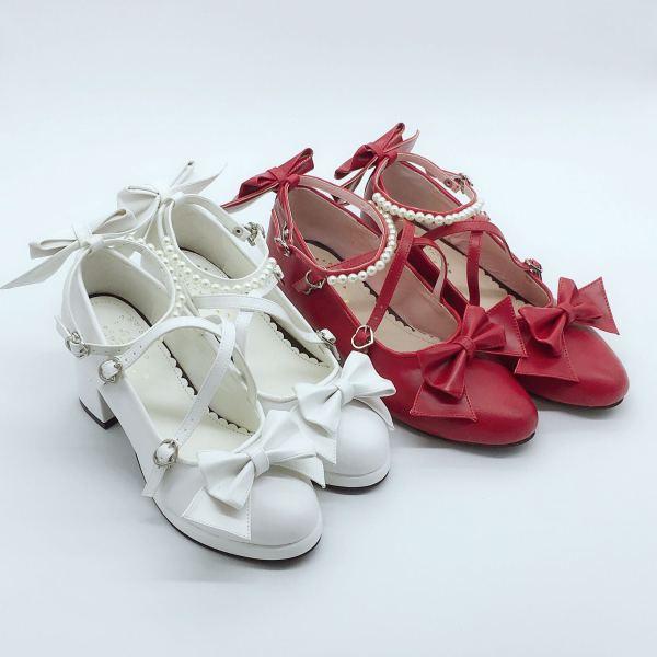 Sweet Girl  Pearl Chain Lolita Shoe