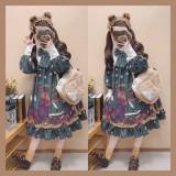 Detective bear~Sweet Pinting Lolita OP Dress