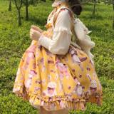 Gemibears Mini~Sweet Print Long Sleeve Lolita OP Dress/ False two pieces
