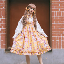 Gemibears Mini~Sweet Print Long Sleeve Lolita OP Dress/ False two pieces